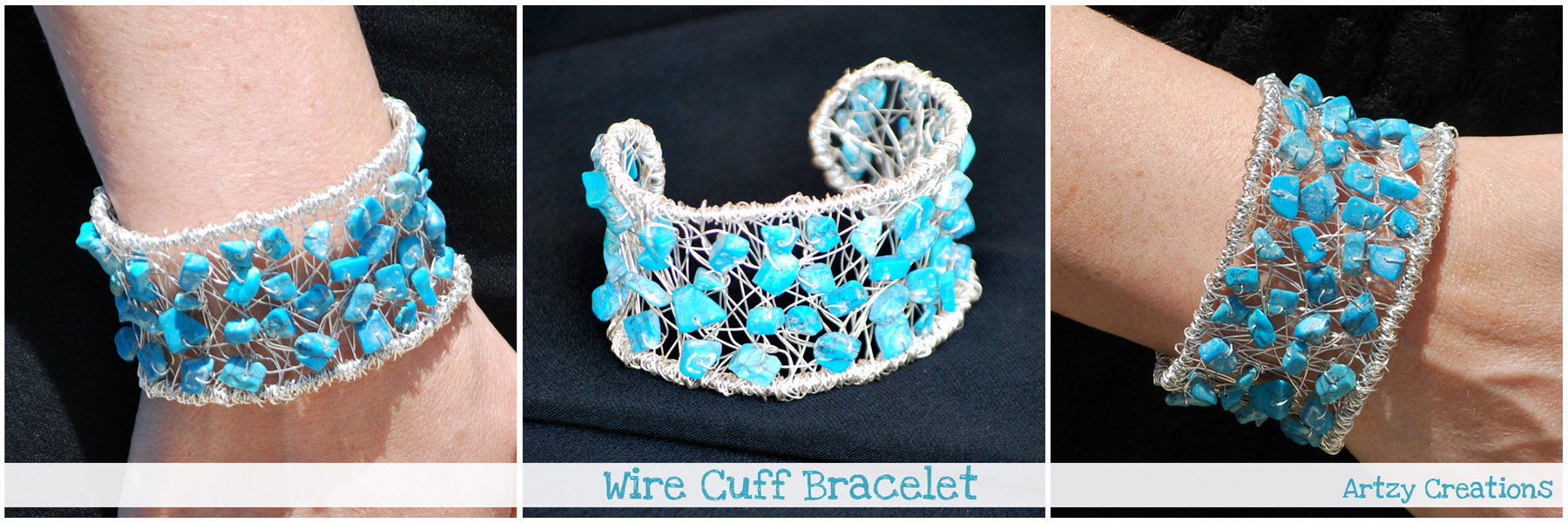 DIY Wire Wrapped Cuff Bracelet - artzycreations.com