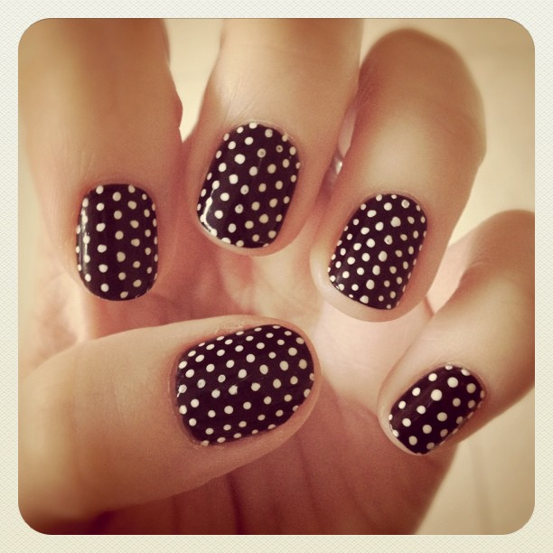 black and white polka