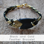 Black and Gold Feather Bracelet