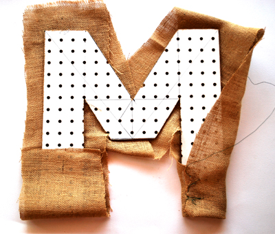 letter with burlap