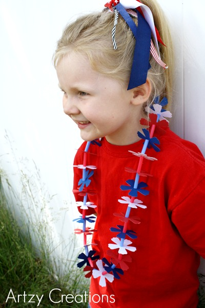 Artzy Creations_4th of July Lei with Lilyb