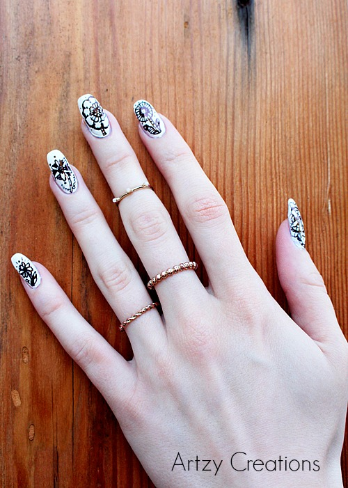 Artzy Creations_Serene Sketch Artist Dress Nails _1a