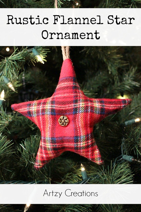 Rustic-Flannel-Star-Ornament-Artzy Creations 1