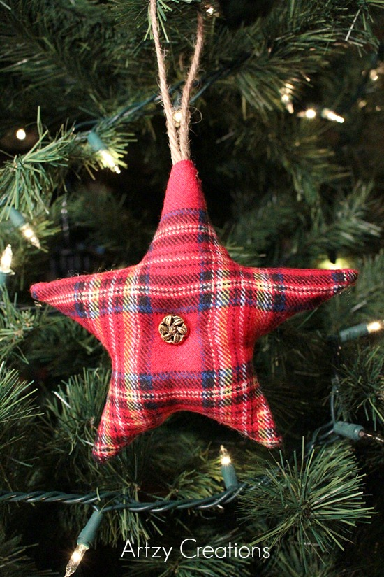 Rustic-Flannel-Star-Ornament-Artzy Creations 4
