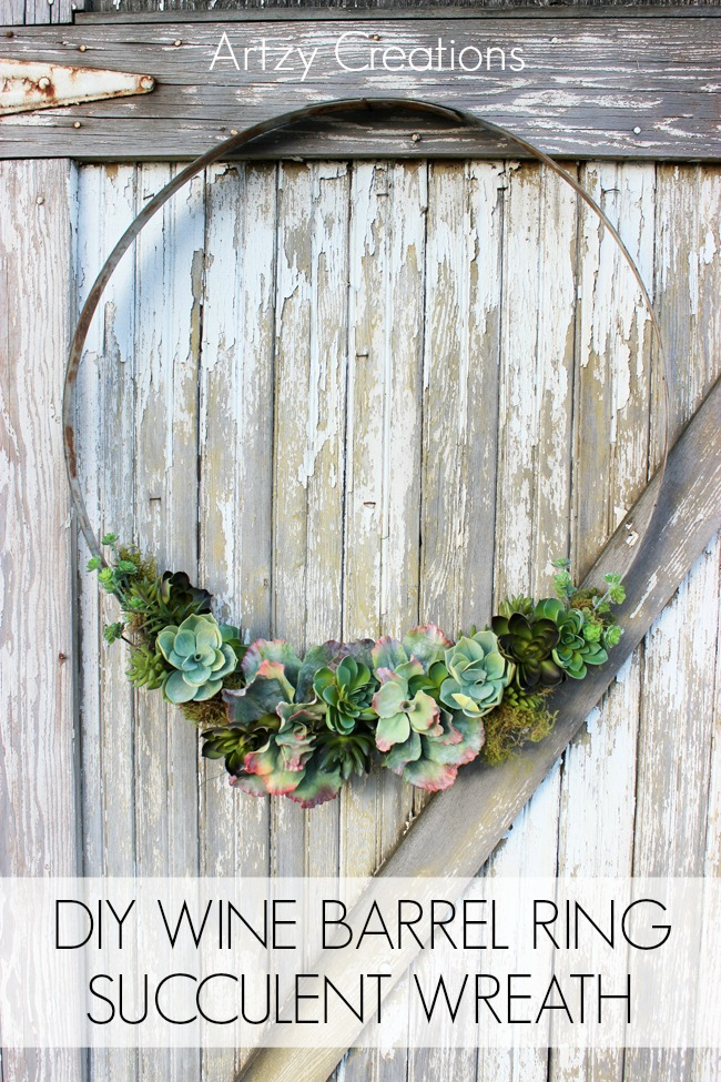 Wine Barrel Succulent Wreath