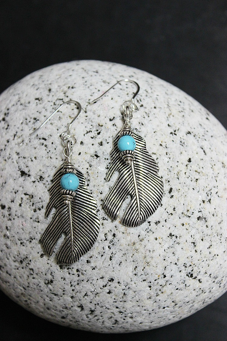 Easy-Feather-Turqoise-Earrings-Artzy Creations 5jpg