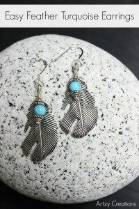 Easy-Feather-Turqoise-Earrings-Artzy Creations 7