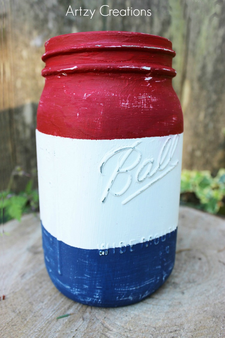 Distressed-4th-of-July-Painted-Mason-Jar-Artzy-Creations-7a
