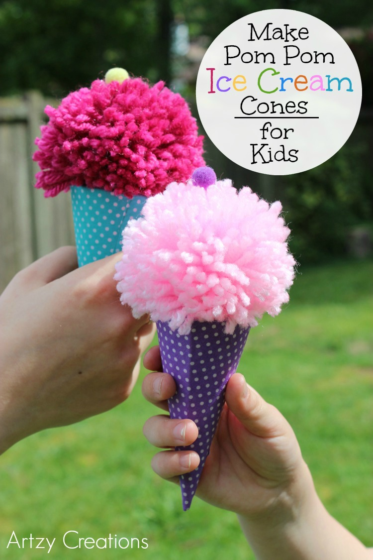 Pom-Pom Ice Cream Cones for Kids