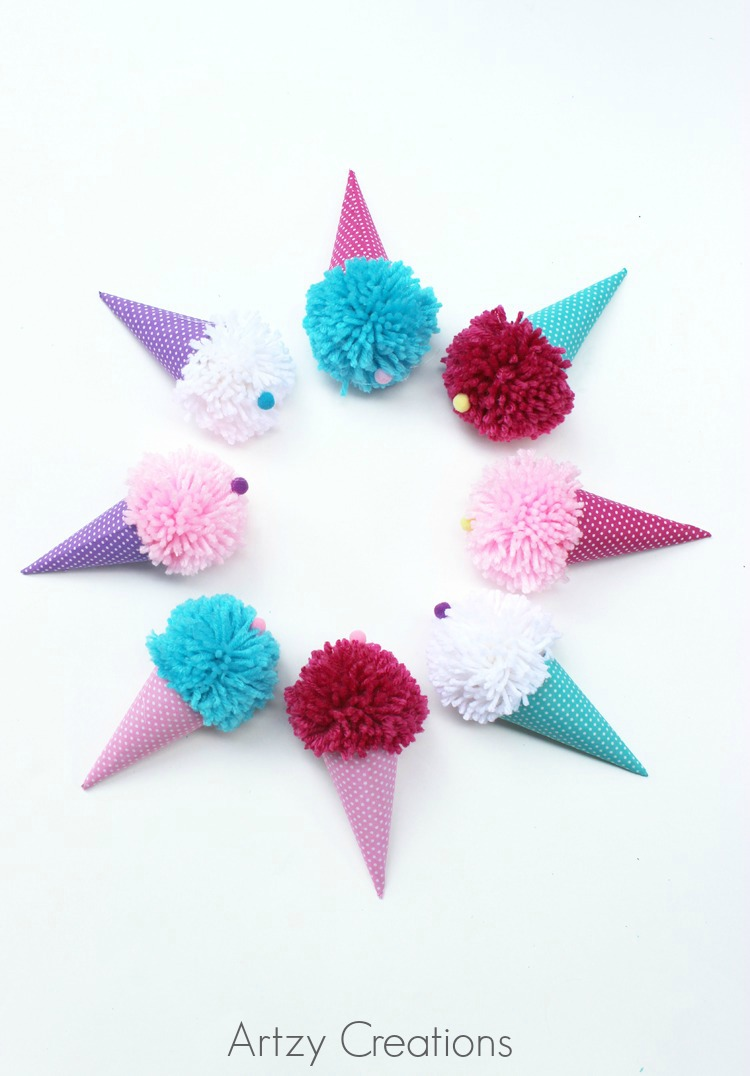 Pom-Pom-Ice-Cream-Cones-For-Kids-Artzy Creations 7a