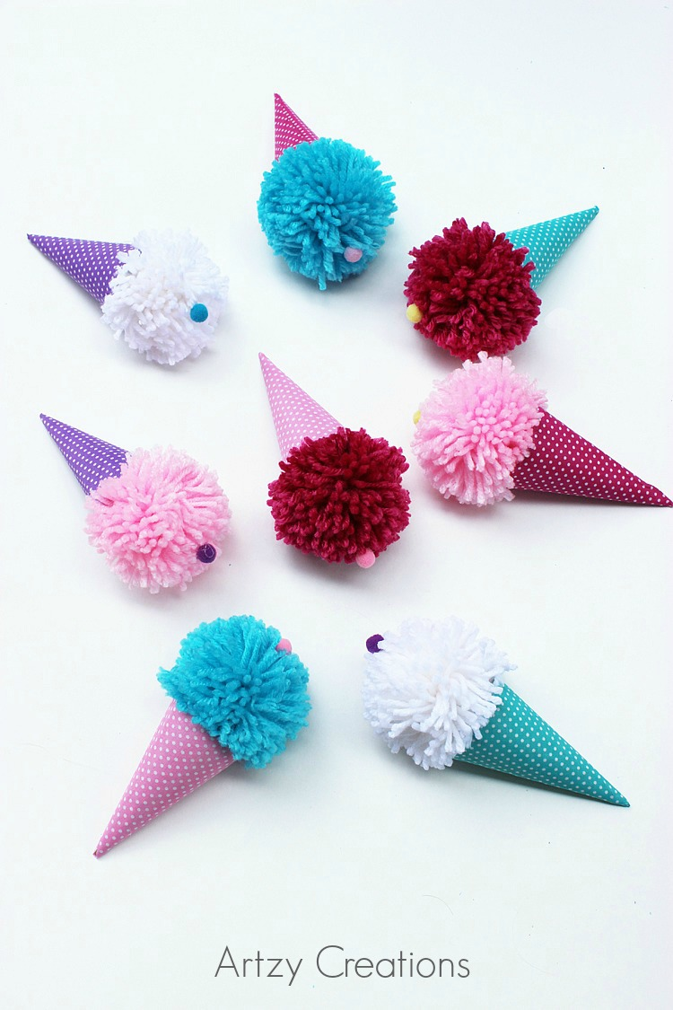 Pom-Pom-Ice-Cream-Cones-For-Kids-Artzy Creations 8a