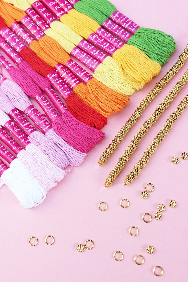 DIY-Mini-Tassel-Stretch-Bracelet-Artzy Creations