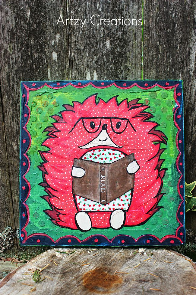 Hedgehog-Mixed Media-Decoart-Artzy Creations 10