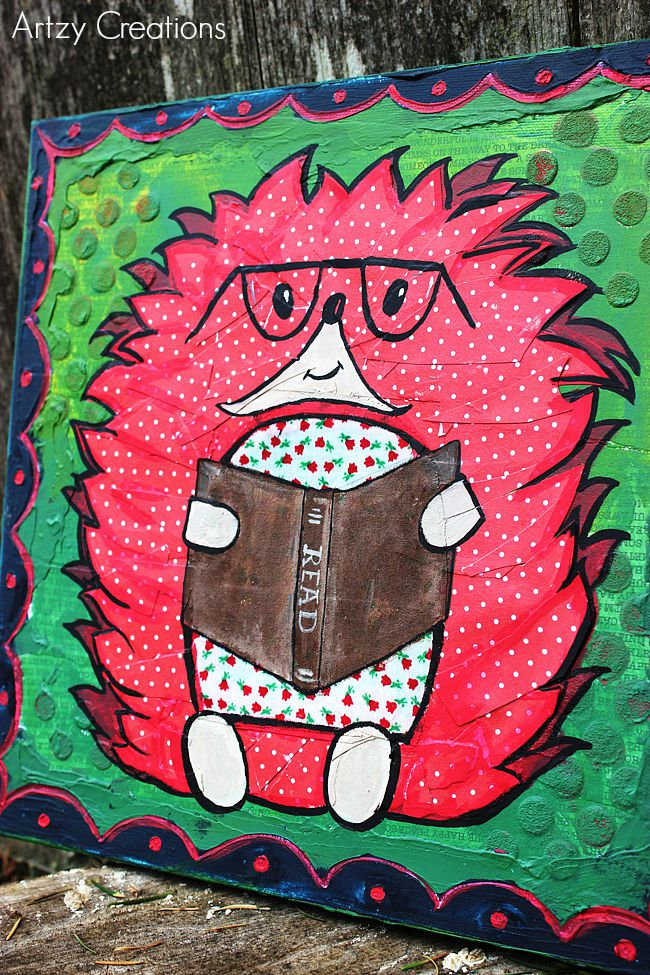 Hedgehog-Mixed Media-Decoart-Artzy Creations 12