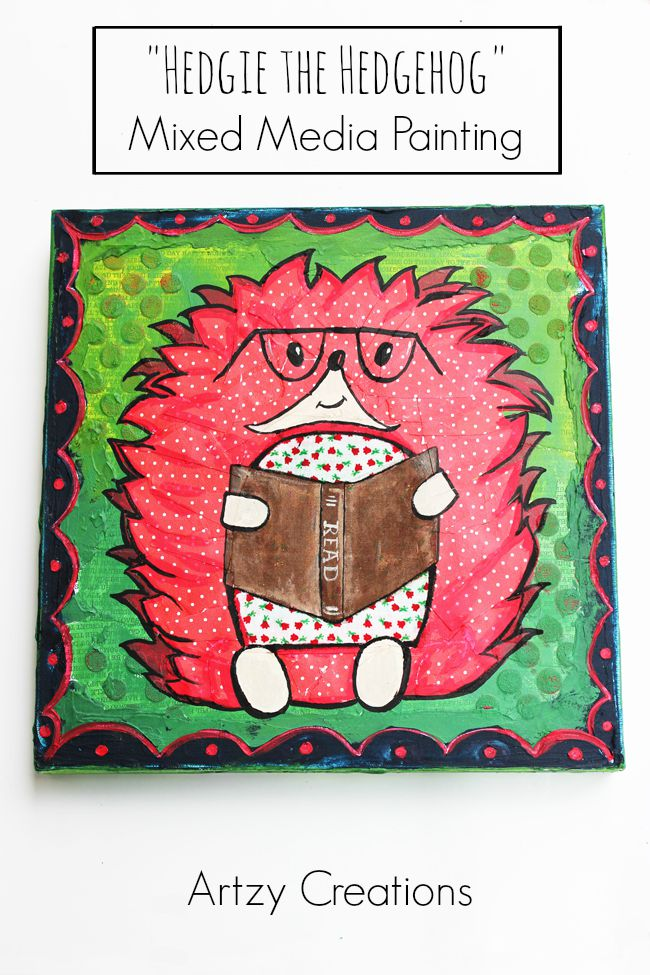 Hedgehog-Mixed Media-Decoart-Artzy Creations 2