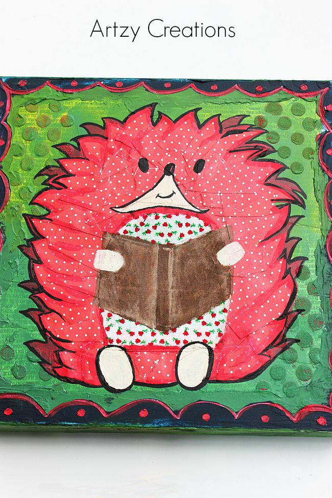 Hedgehog-Mixed Media-Decoart-Artzy Creations 8