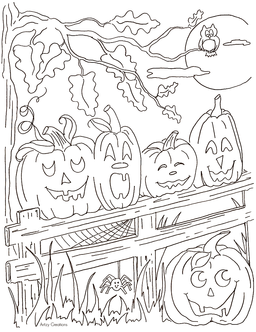 5 little pumpkins coloring page artzycreations com