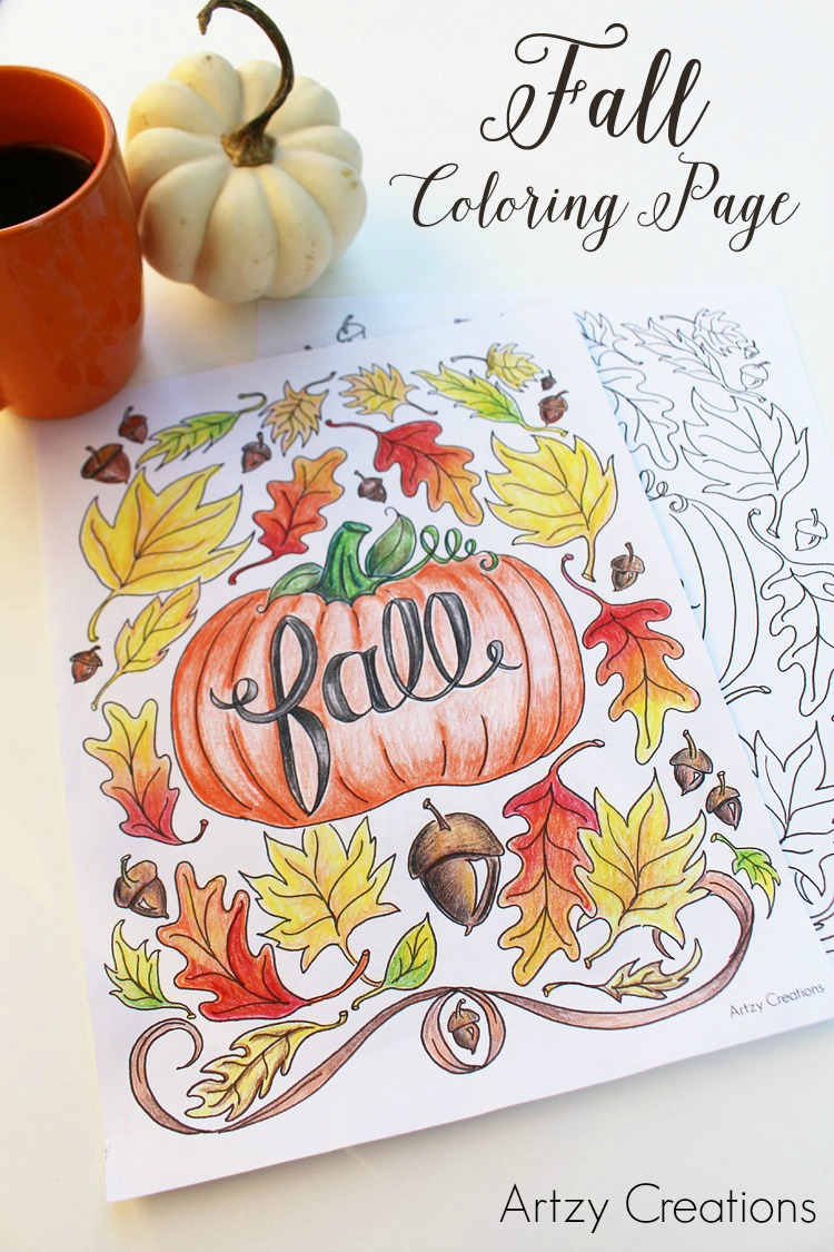 Fall-Coloring-Page-Artzy Creations 1