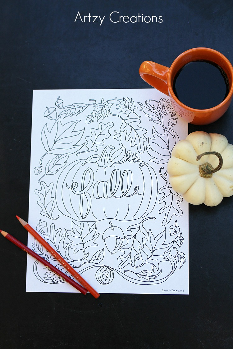 Fall-Coloring-Page-Artzy Creations 2