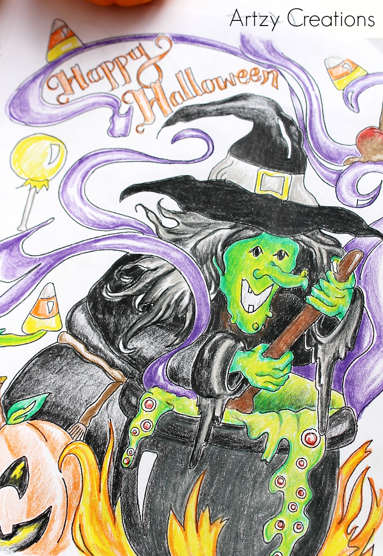 Free-Halloween-Coloring-Page 2-Artzy Creations