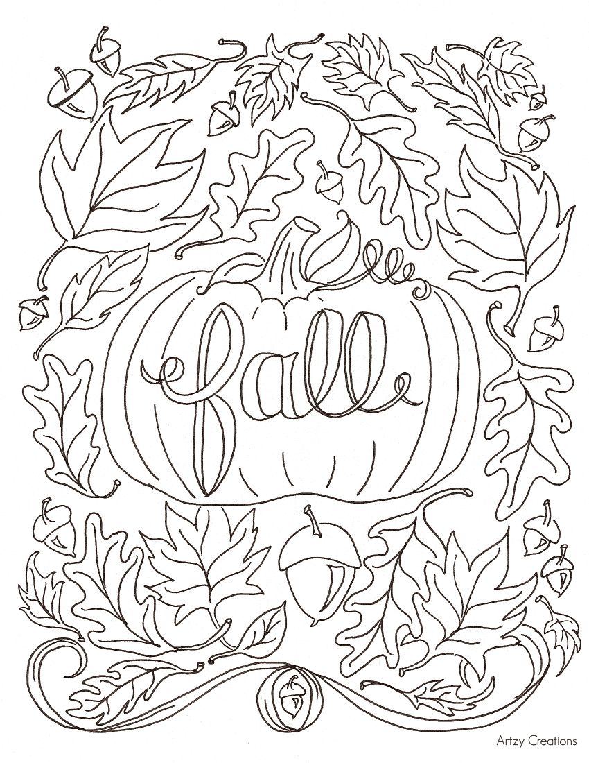 Pumpkin Fall Coloring Page Artzy Creations free fall coloring page artzycreations com on fall coloring pictures