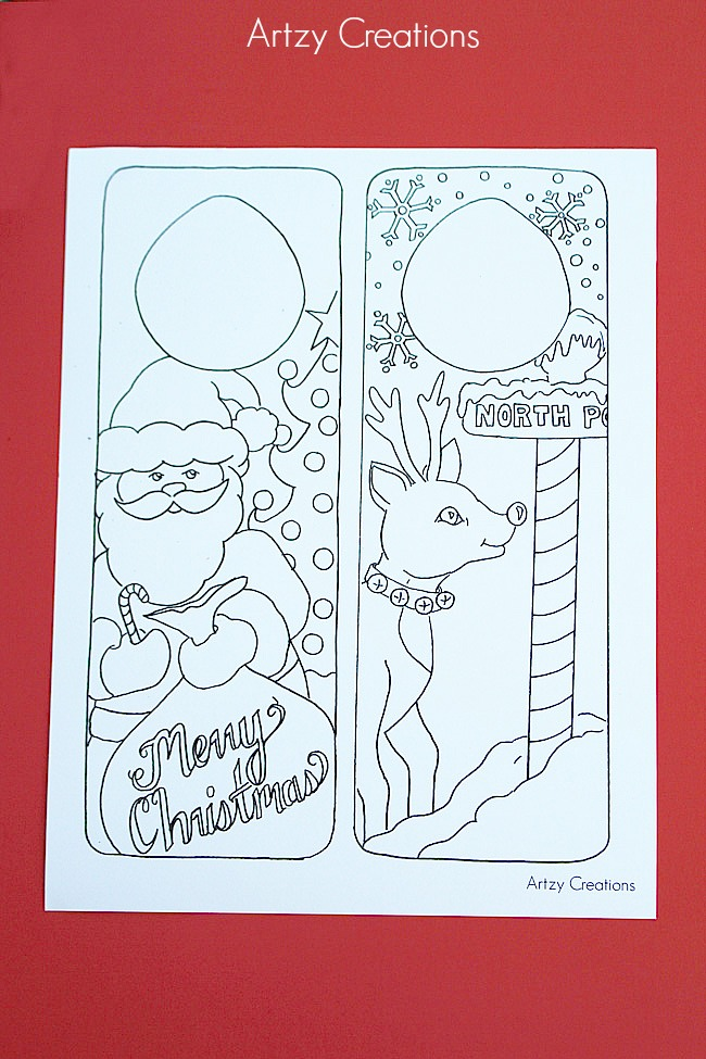 Free-Printable-Christmas-Door-Hanger-For-Kids-Artzy Creations 2