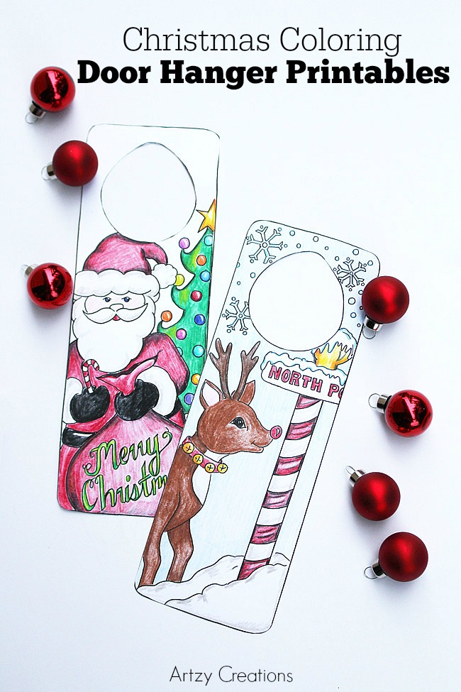 Free-Printable-Christmas-Door-Hanger-For-Kids-Artzy Creations a
