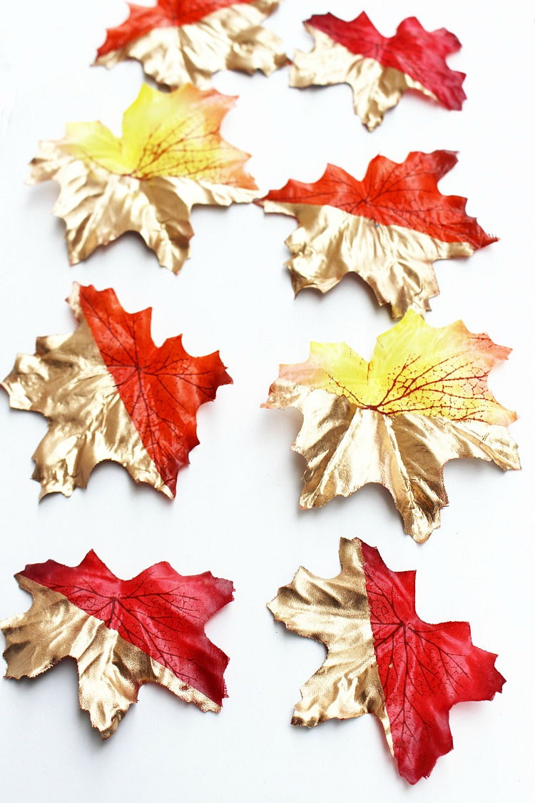 Gold-Color-Blocked-Leaves-Artzy Creations 5
