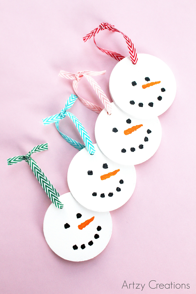 Wood-Slice-Snowman-Ornaments-Artzy Creations 1a
