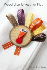 Wood Slice Turkeys For Kids