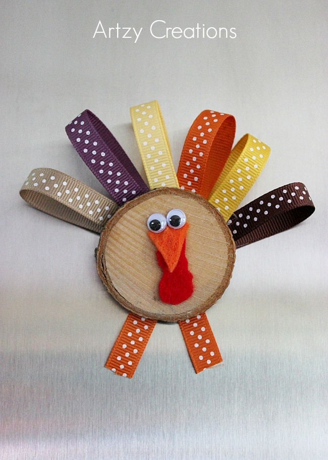 Wood Slice Turkeys for Kids-Artzy Creations 7