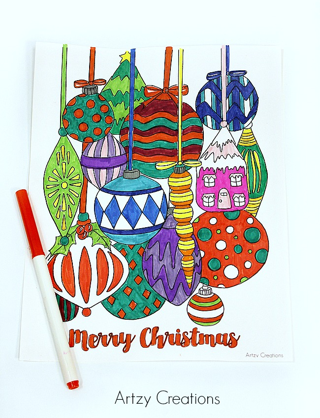 Free-Christmas-Ornament-Coloring-Page-02-Artzy Creations
