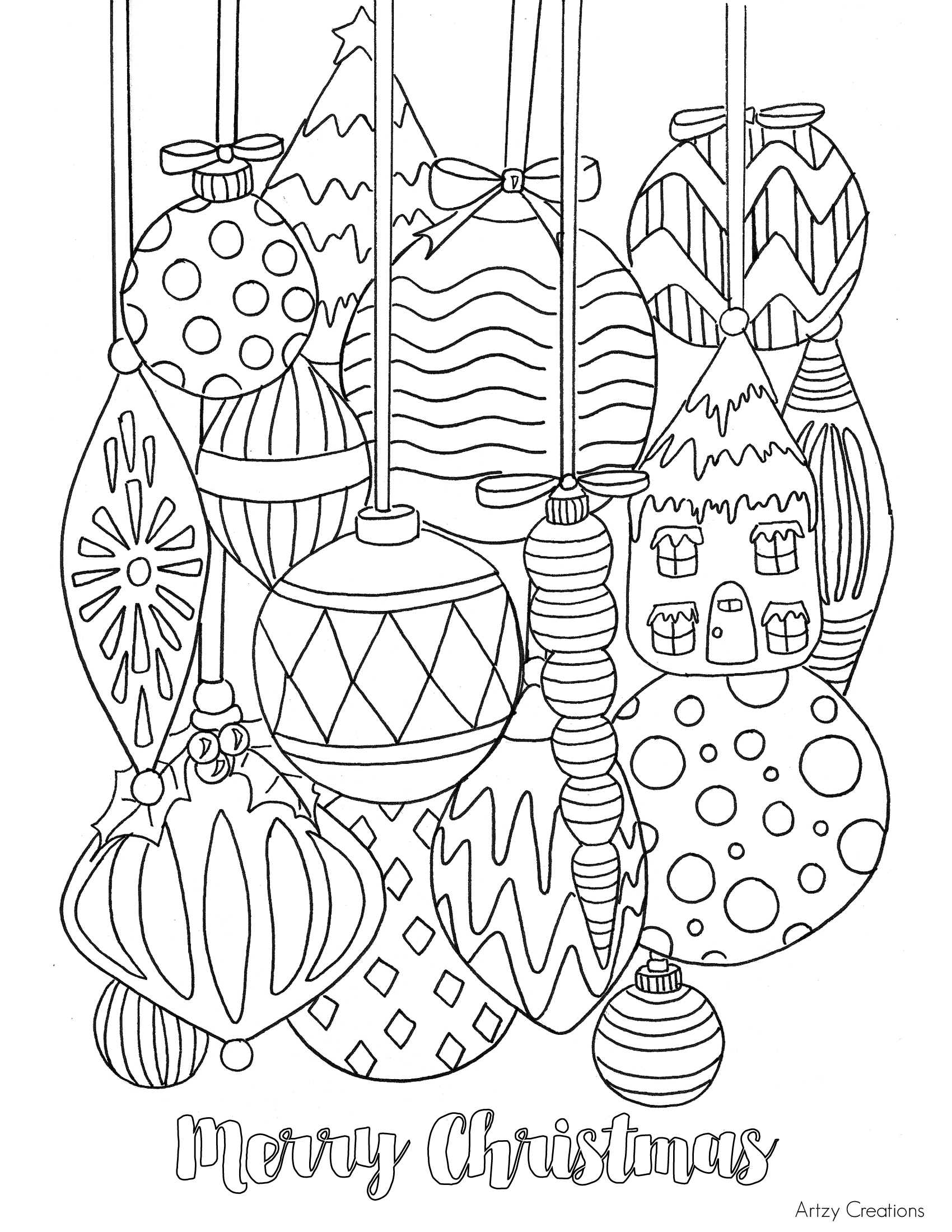 Free Christmas Ornament Coloring Page artzycreations