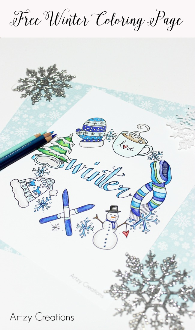 Free-Winter-Coloring-Page-Artzy Creations 2