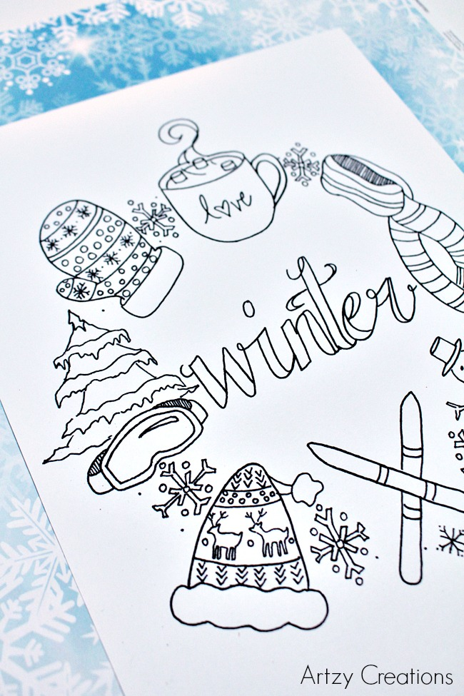 Free-Winter-Coloring-Page-Artzy Creations 3