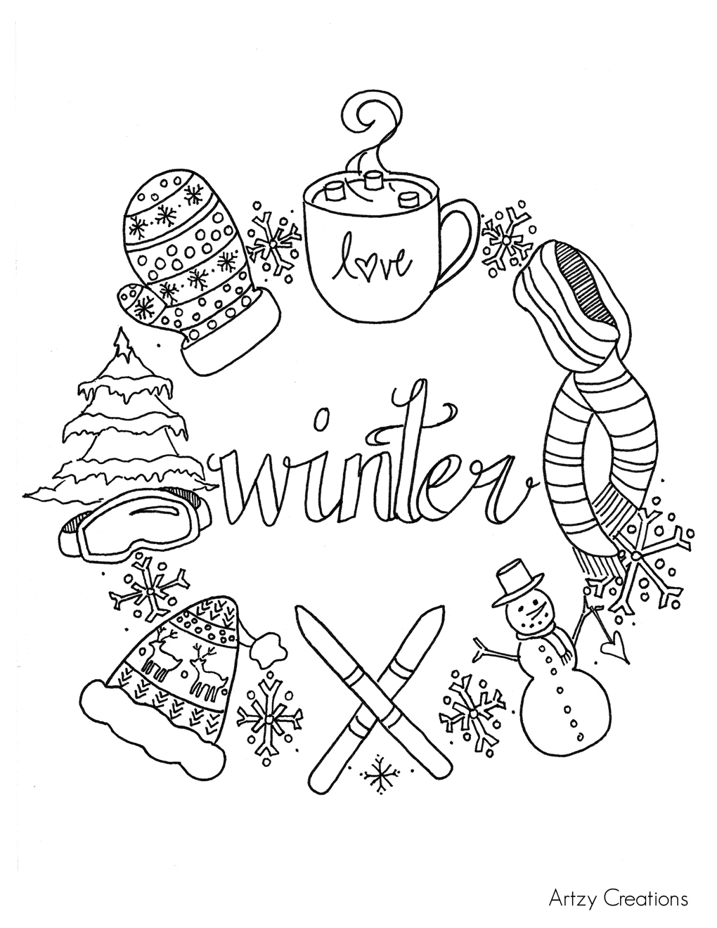 Free Winter Coloring Page artzycreations