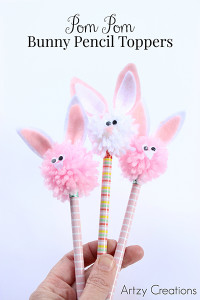 Pom Pom Bunny Pencil Toppers 1-Artzy Creations