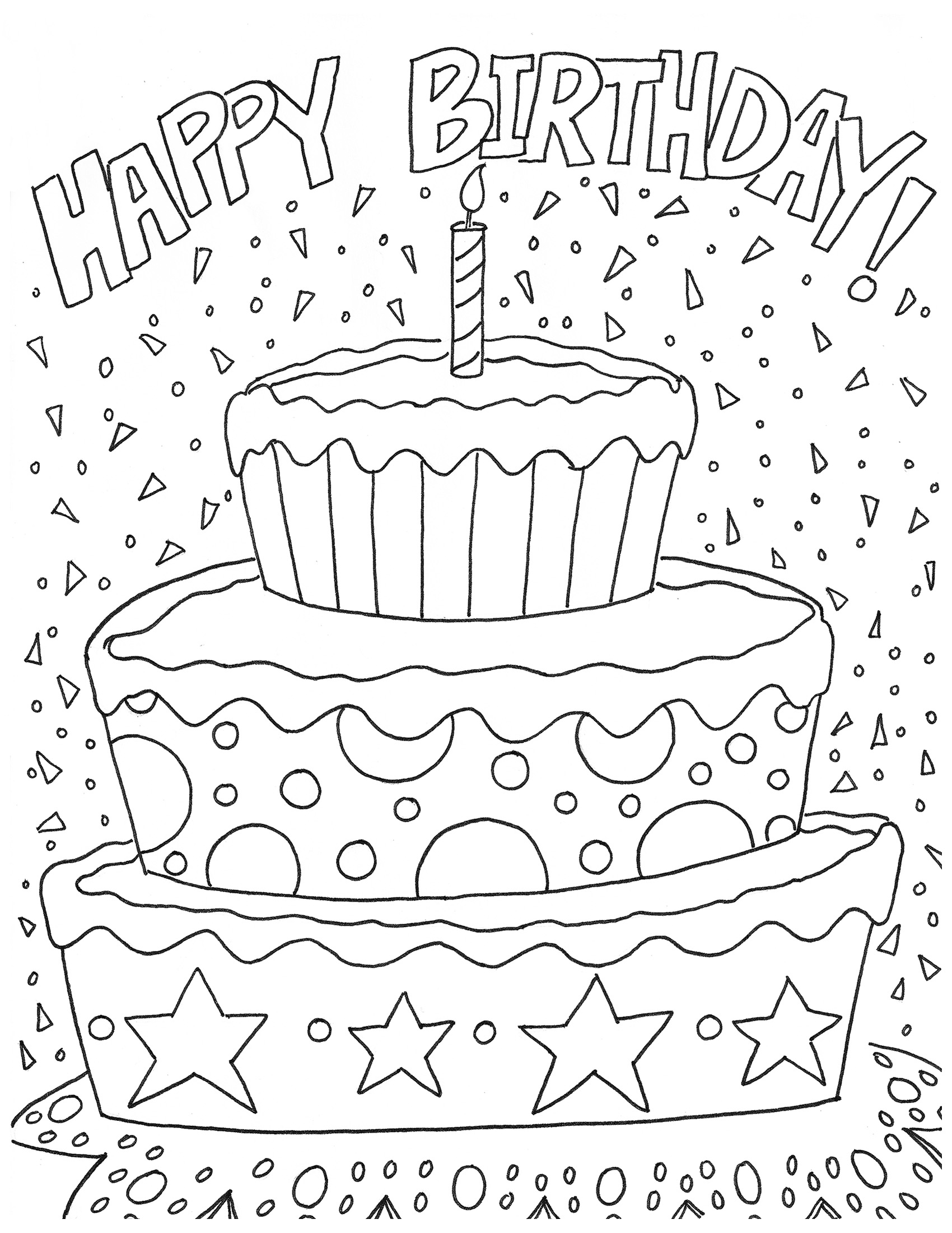 Free happy birthday coloring page and hershey for Birthday coloring page