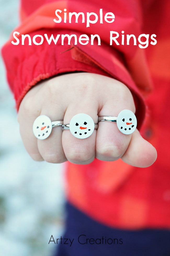 Easy to make, you kids will love these Simple Snowmen Rings. This is an easy DIY craft for winter class parties.
