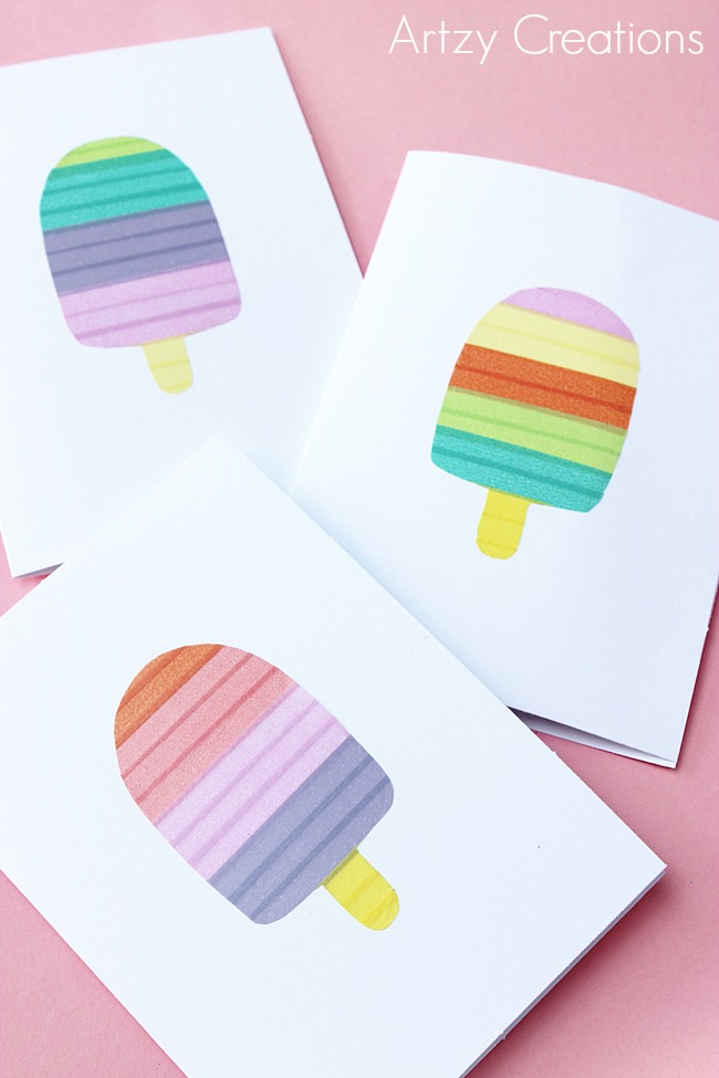 DIY Crafts - Handmade Popsicle Cards by artzycreations.com Pin it now and make  it later!