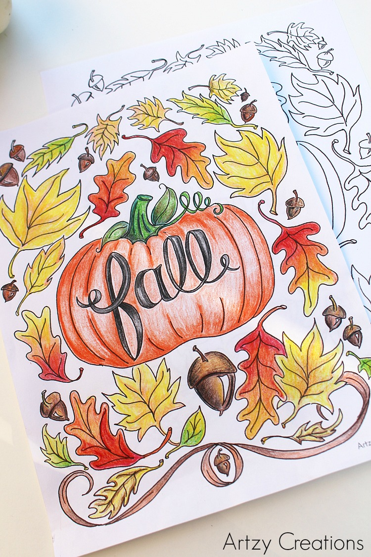 Free Fall Coloring Page - artzycreations.com