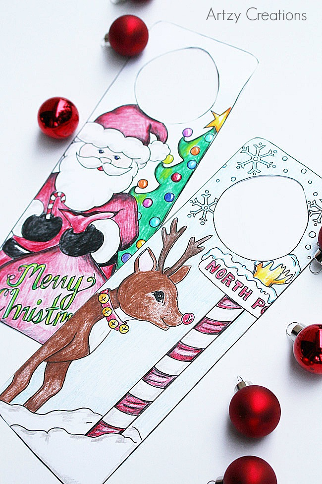 Kid Christmas Crafts - Print this adorable Christmas Coloring Page and help the kiddos make festive door hangers for their bedrooms. They will love this craft idea! PIN IT NOW and print it later!