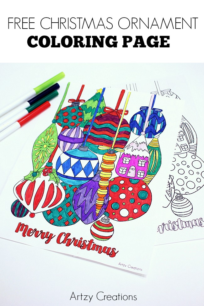 Free Christmas Ornament Coloring Page - artzycreations.com